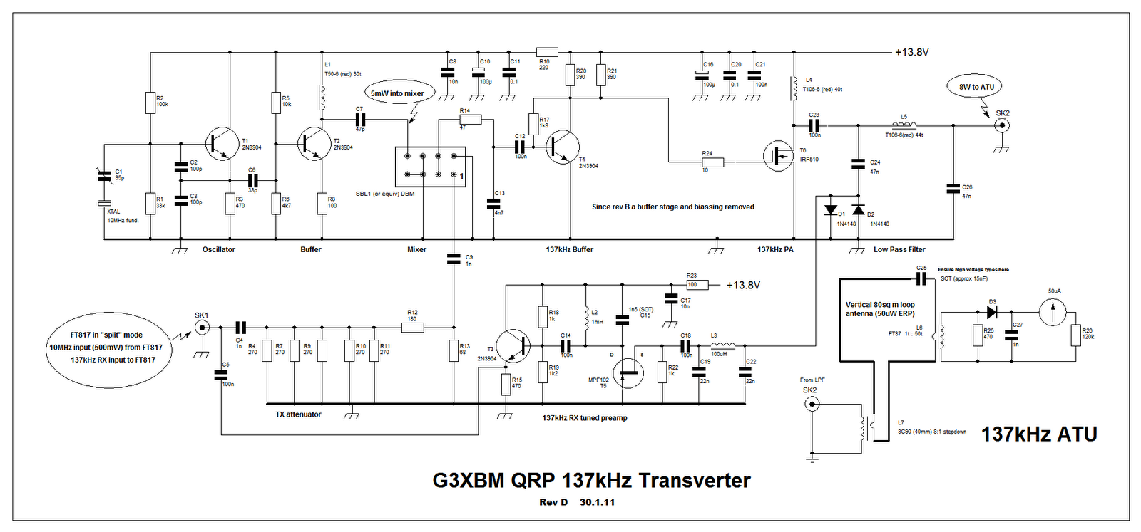 le transverter 137 khz qrp de g3xbm passion radio blog. Black Bedroom Furniture Sets. Home Design Ideas