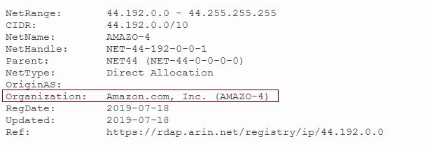 base whois 44.192.0.0 amazon hamnet amprnet