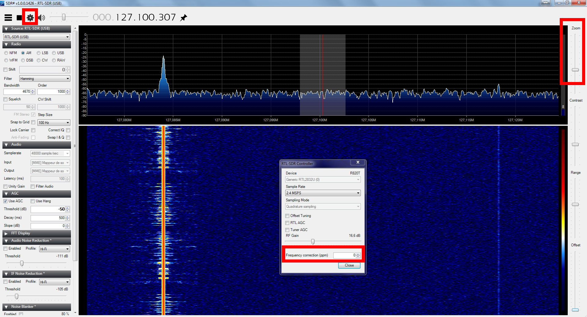 configuration frequence rtl2832 sdr