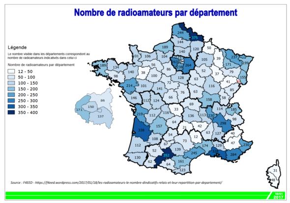 Répartition & statistique radioamateur par département
