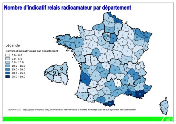 Statistique relais radioamateur par département