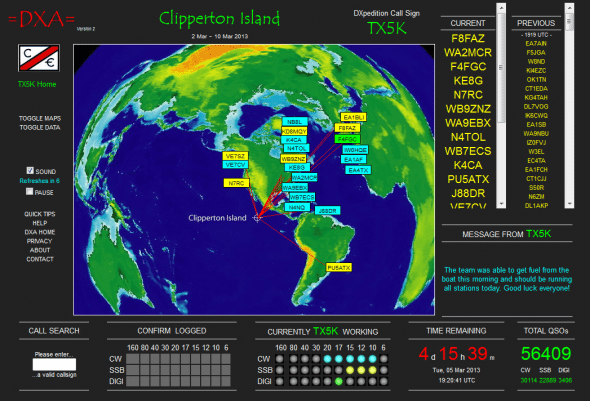 Dxpedition TX5K en temps réel
